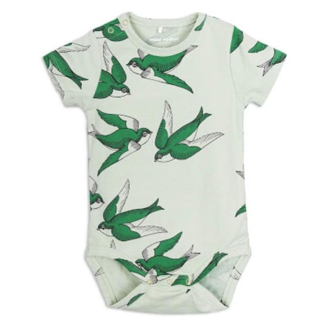 Mini Rodini - Green Swallows Short Sleeve Onesie (1-4 Months) Onesie Mini Rodini