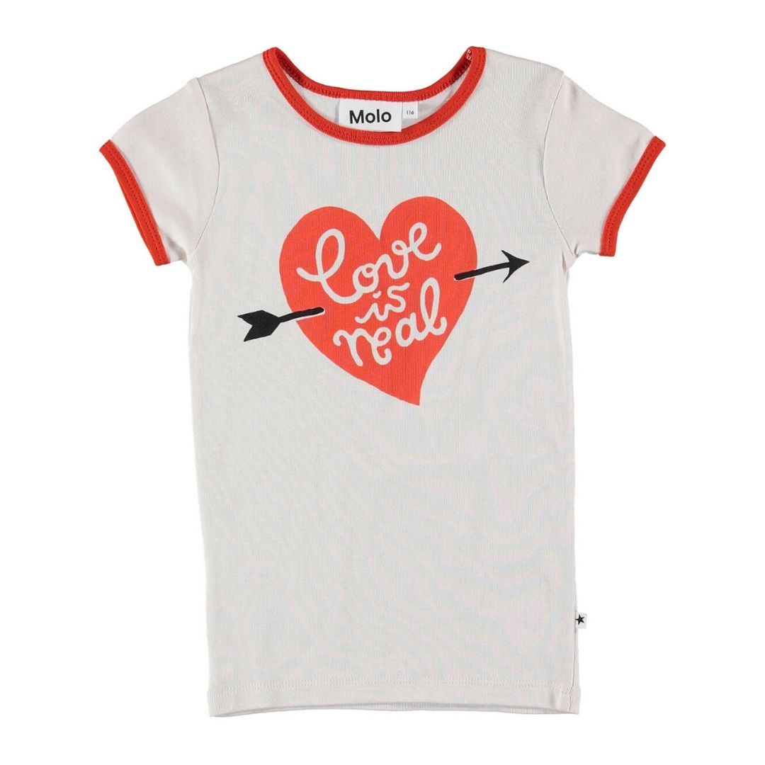 Molo - Love is Real Organic Cotton Girls T-Shirt Short Sleeve Shirt Molo