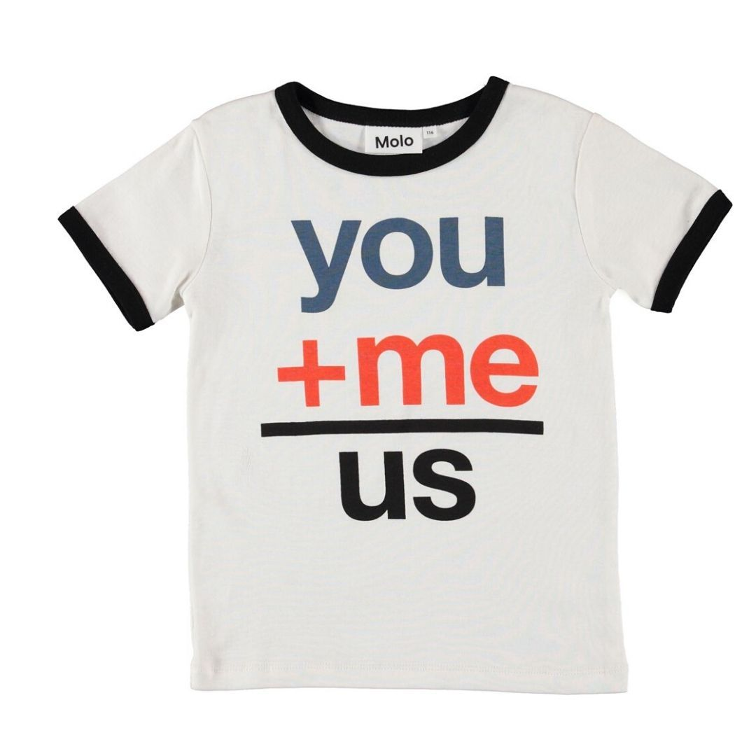 Molo - You + Me = Us Organic Cotton Kids T-Shirt Short Sleeve Shirt Molo