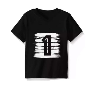 Monochrome 1st Birthday Tee Short Sleeve Shirts TIny Trendsetter 12-24 Months