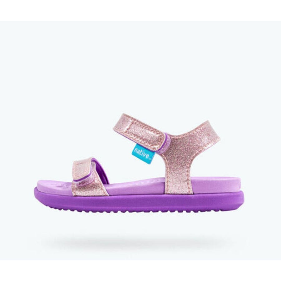 Native Charley Glitter Sandals - Lavender Purple Glitter/ Starfish Purple Sandals Native