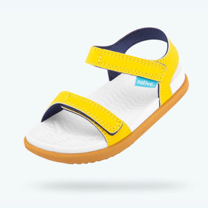 Native Charley Sandals - Crayon Yellow / Shell White /Toffee (Toddler 4 - Youth 3) Sandals Native
