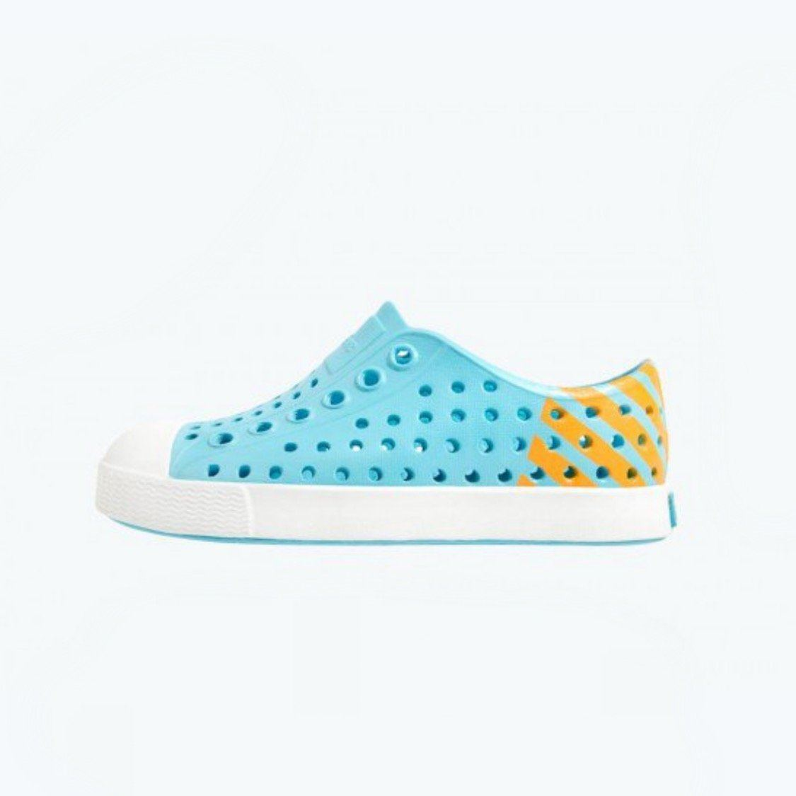 Native - Jefferson Block Hamachi Blue / Shell White / Laser Glow Kids Shoes (Toddler 4 - Youth 6) footwear Native