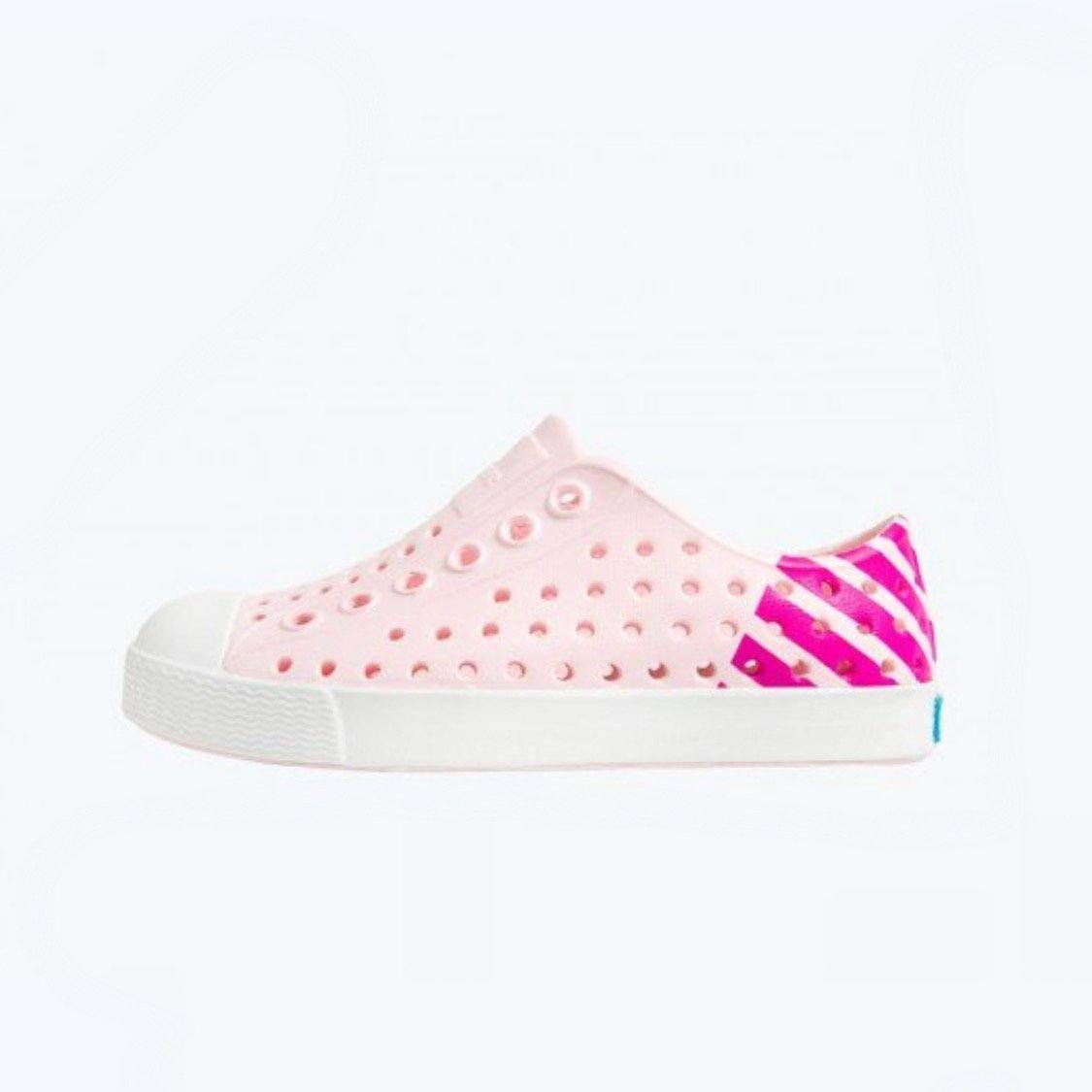 Native - Jefferson Block Junior Blossom Pink / Shell White Kids Shoes (Youth 1 - Youth 6) footwear Native