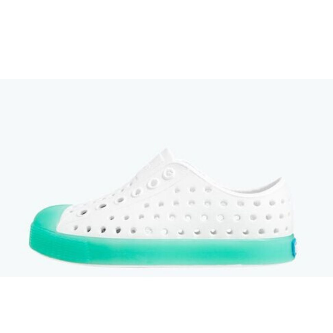 Native - Jefferson Glow Child Shell White / Minty Kids Shoes Footwear Native