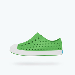 Native - Jefferson Grasshopper Green / Shell White Kids Shoes (Youth 2 & Youth 3) footwear Native
