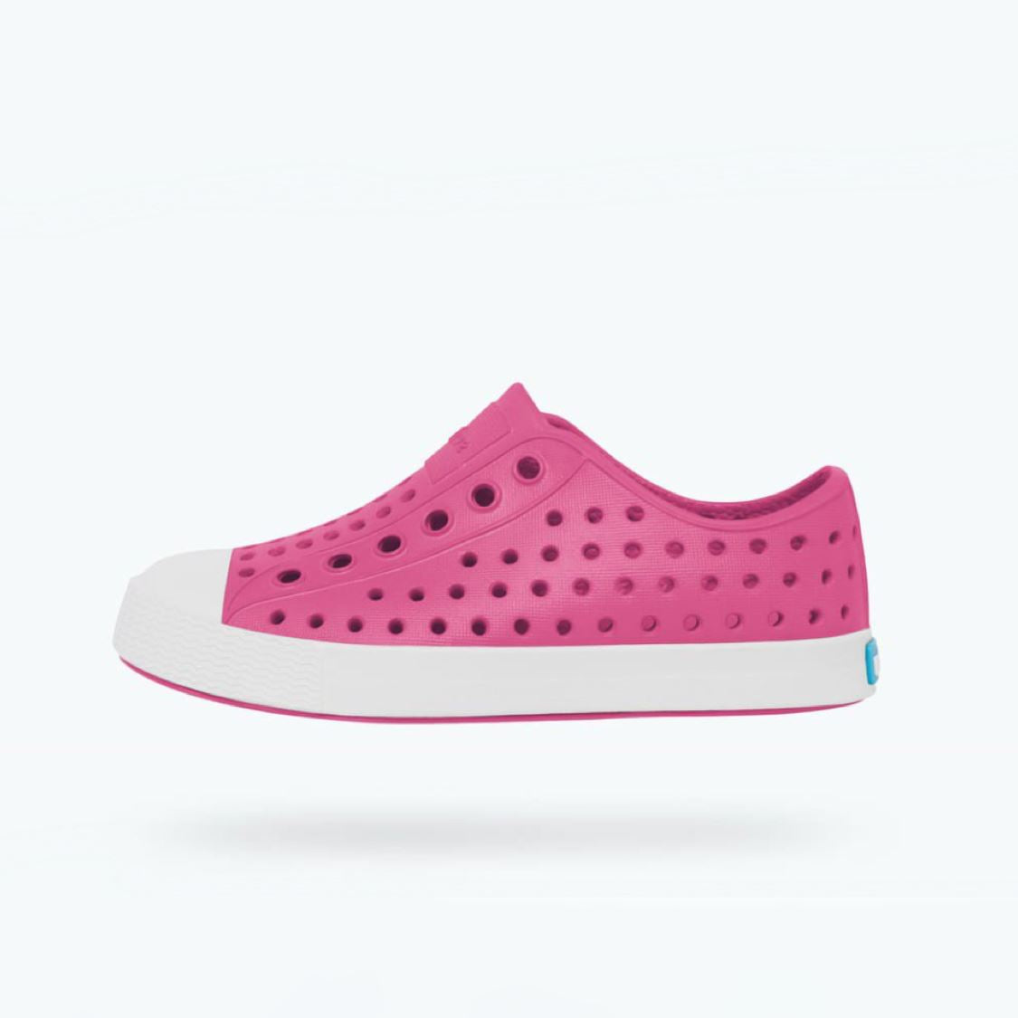 Native - Jefferson Hollywood Pink / Shell White Kids Shoes (Toddler 4 - Youth 6) footwear Native