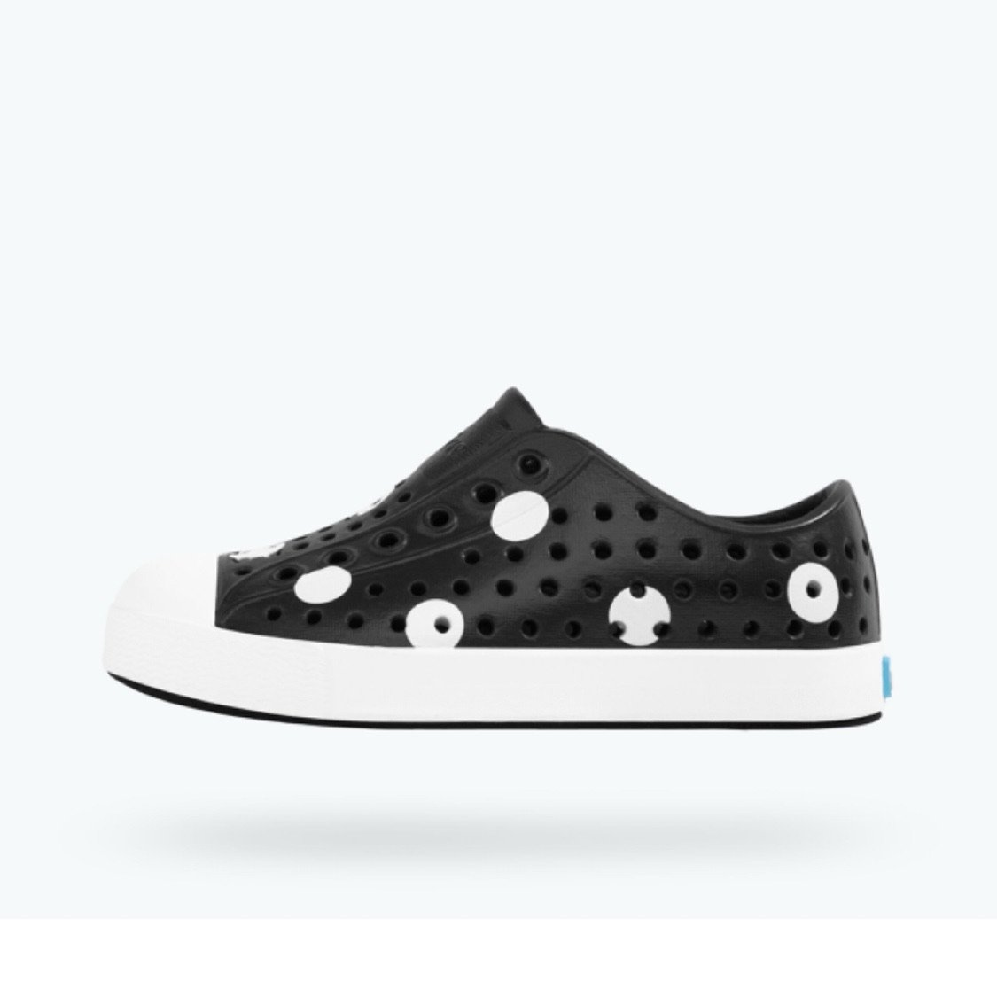 Native - Jefferson Jiffy Black / Shell White Polka Dot Print Kids Shoes footwear Native