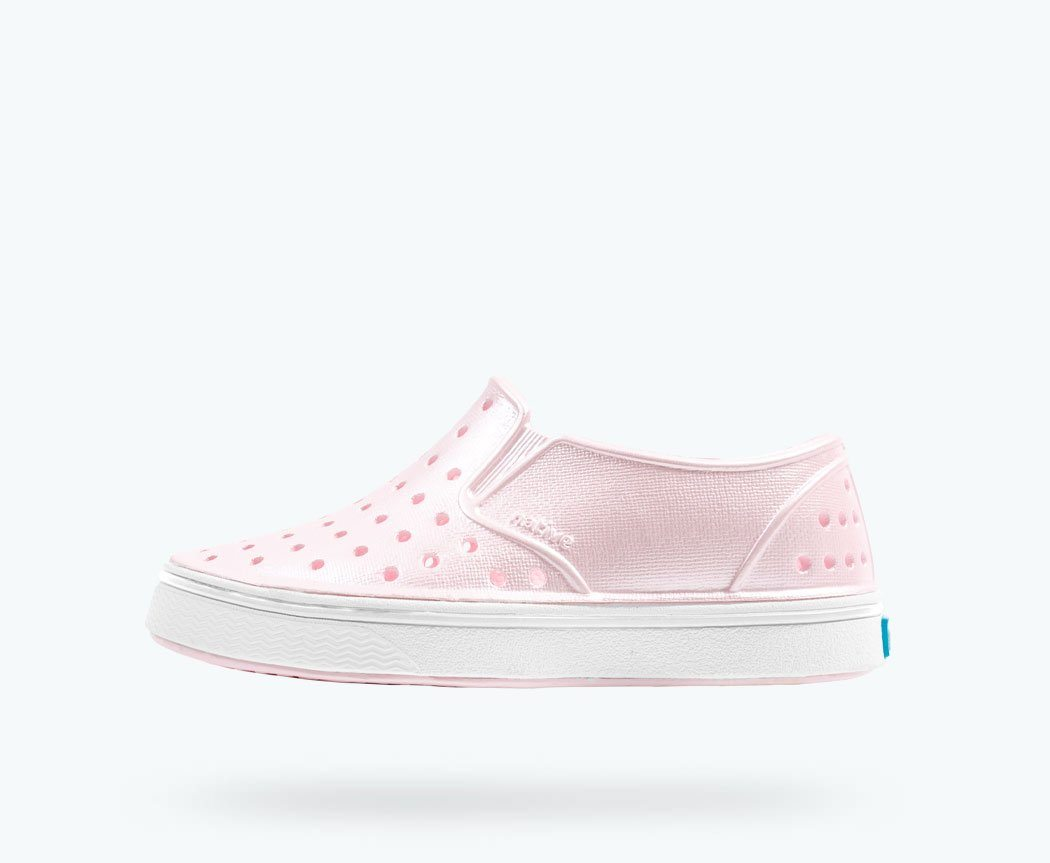 Native - Miles Milk Pink Metallic / Shell White Kids Shoes Footwear Native
