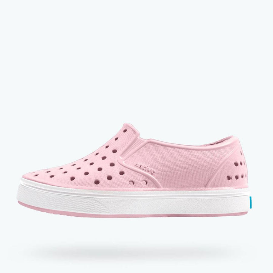 Native - Miles Princess Pink/ Shell White/ Jiffy Stripe Kids Shoes (Toddler 4 - Youth 6) footwear Native 4
