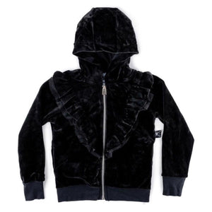 NH306 - Nununu Girl's Velvet Ruffled Zip Hoodie - Black Sweatshirt Nununu