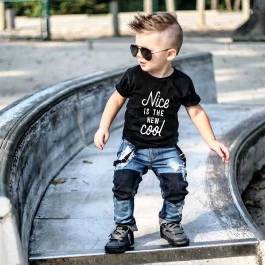 Nice is the new cool Black Unisex T-shirt Short Sleeve Shirts Tiny Trendsetter 12-24 Months