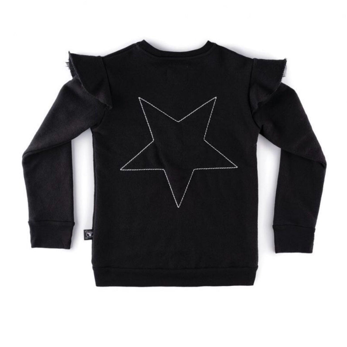 NU2317 - Nununu Girl's Embroidered Star Sweatshirt - Black Sweatshirt Nununu