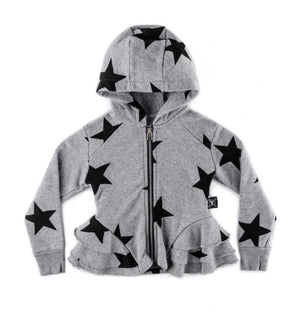NU2330 - Nununu Girl's Star Ruffled Zip Hoodie - Heather Grey Sweatshirt Nununu