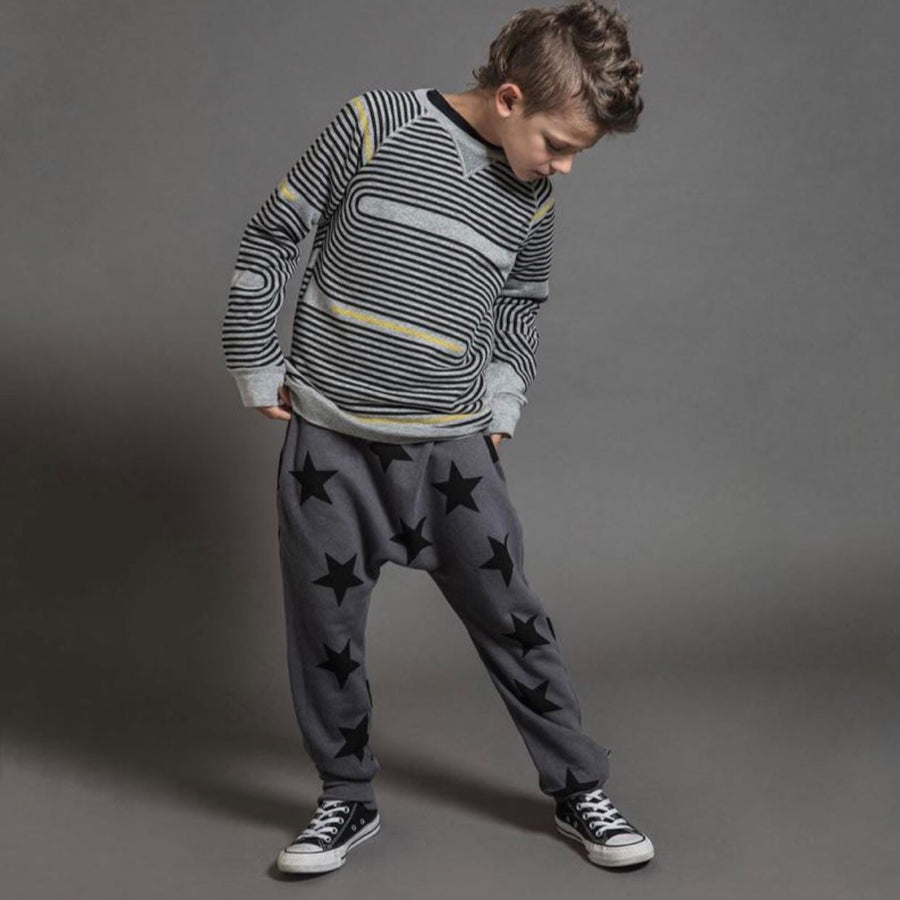 NU2345 - Nununu French Terry Star Baggy Pants- Black Pants Nununu