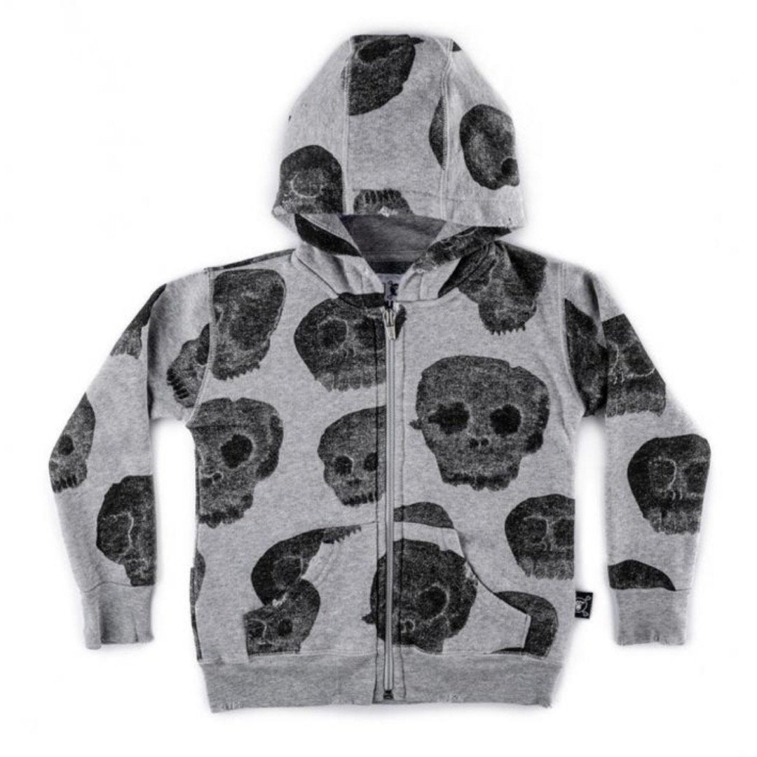 NU2364 - Nununu Unisex Water Skull Zip Hoodie - Heather Grey Sweatshirt Nununu