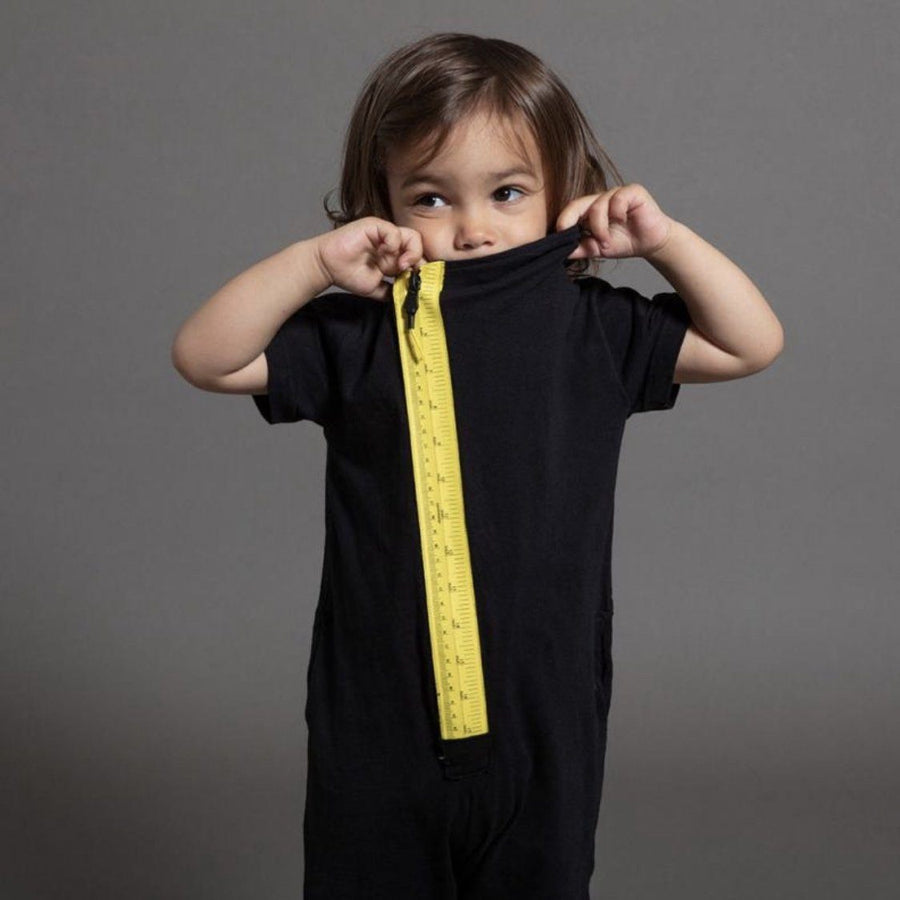 NU2539 - Nununu Black Measuring Band Zip Overall Romper Nununu