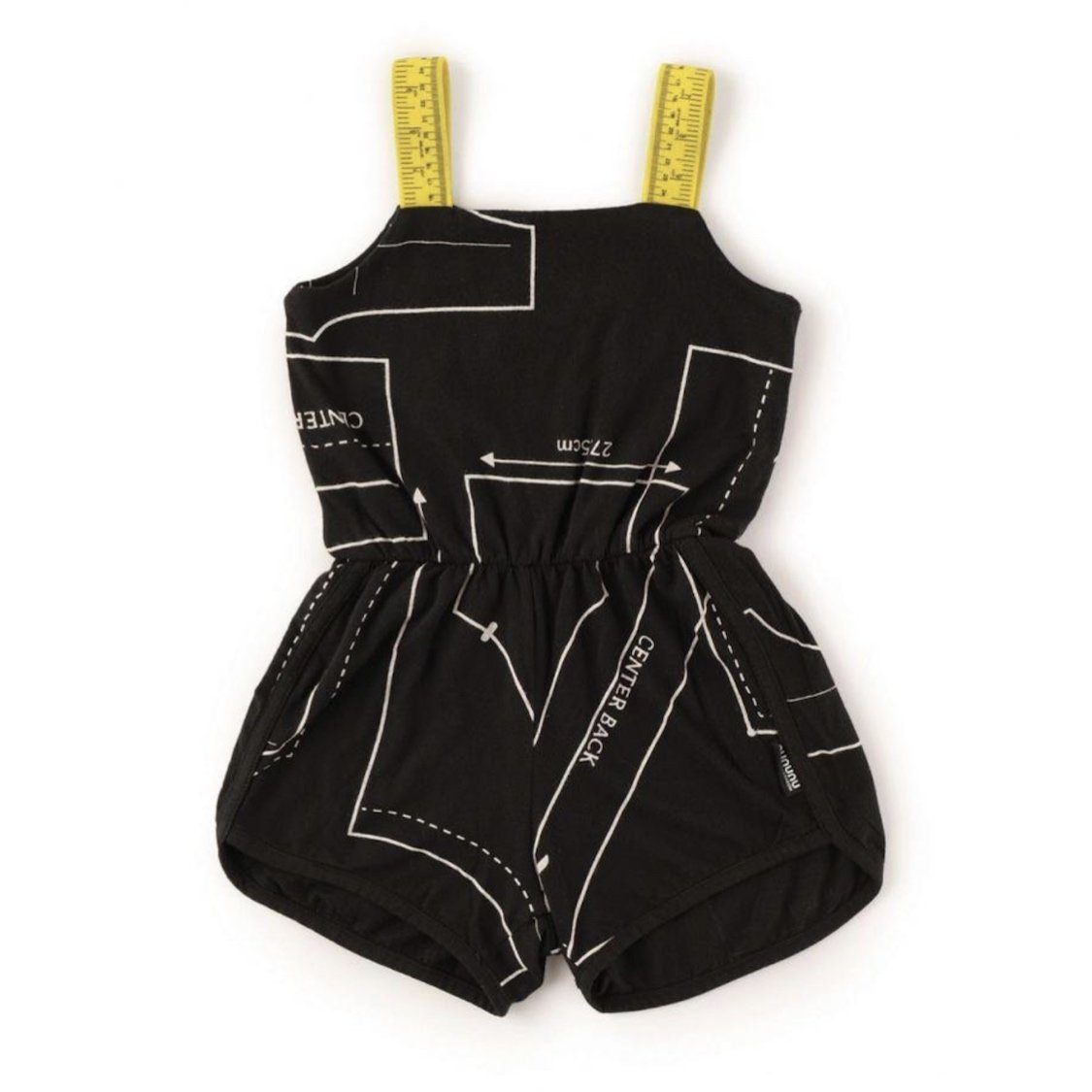 NU2541 - Nununu Black Girls Tailor Kit Strap Overall Romper Nununu