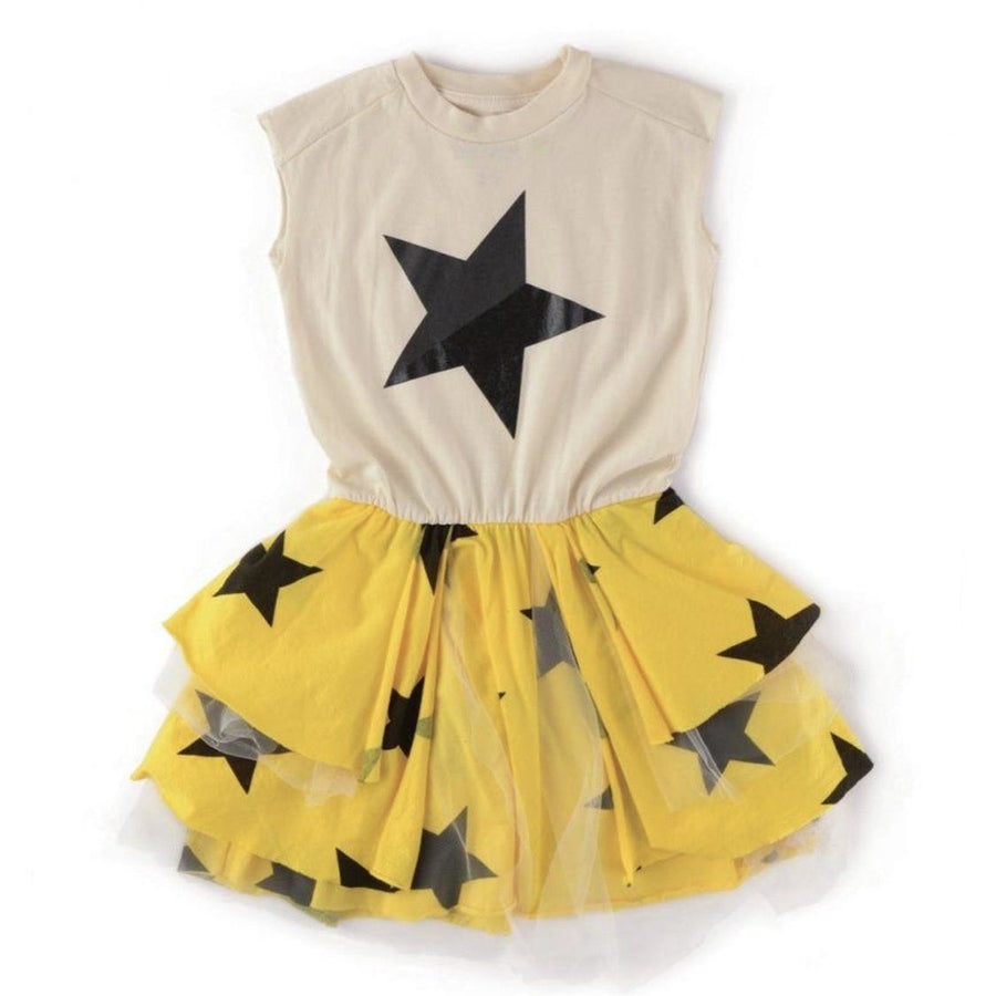 NU2587 - Nununu Girls Natural Layered Star Tulle Dress Dress Nununu