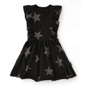 NU2588 - Nununu Girls Black Ruffled Star Dress Dress Nununu