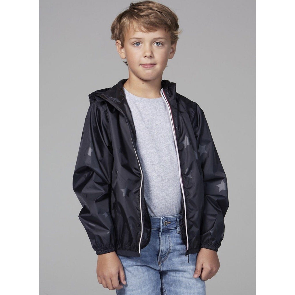 O8 - Black on Black Stars Kids Packable Jacket Outerwear O8