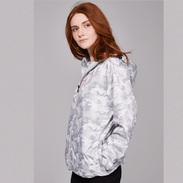 O8 - Sloane White Camo Womens Zip-Up Packable Jacket Outerwear O8