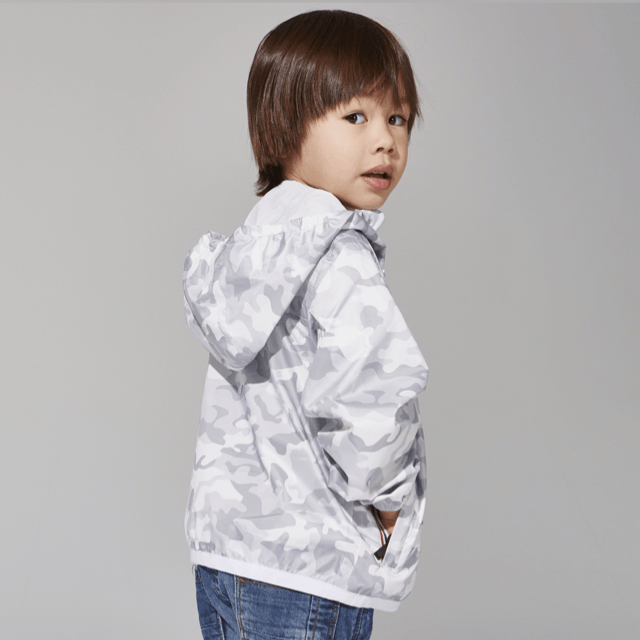 O8 - White Camo Kids Packable Jacket Outerwear O8