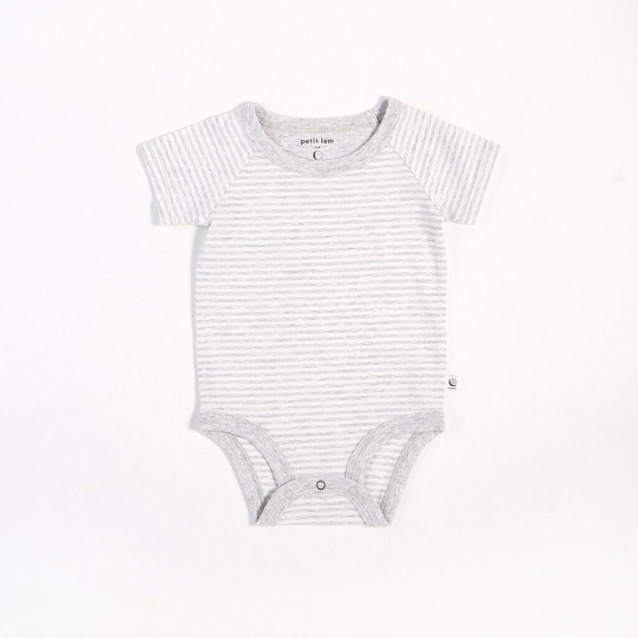 "Petit Lem - ""Essentials"" Grey Striped Onesie with Organic Cotton Onesie Petit Lem"