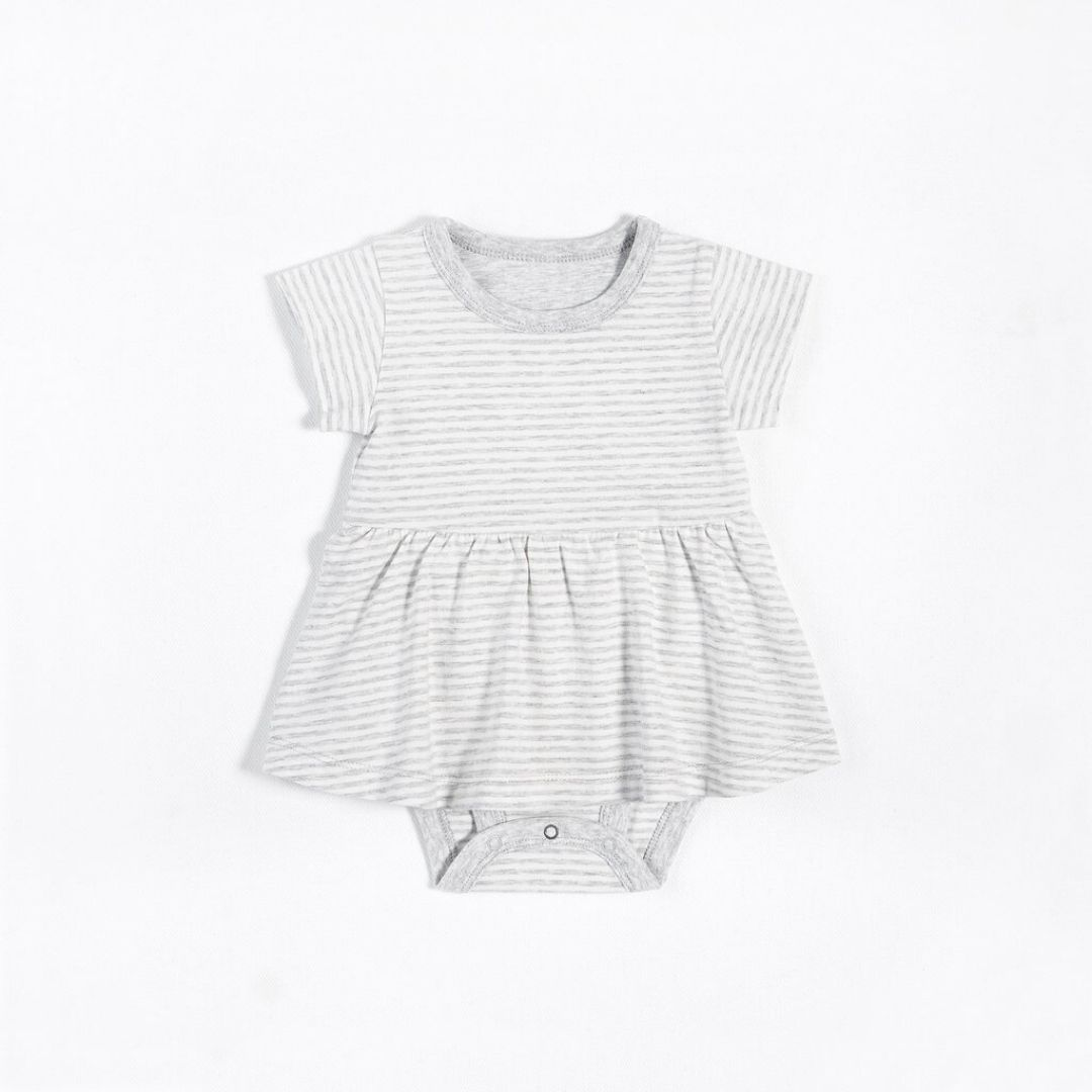 "Petit Lem - ""Essentials"" Grey Striped Peplum Onesie with Organic Cotton Onesie Petit Lem"