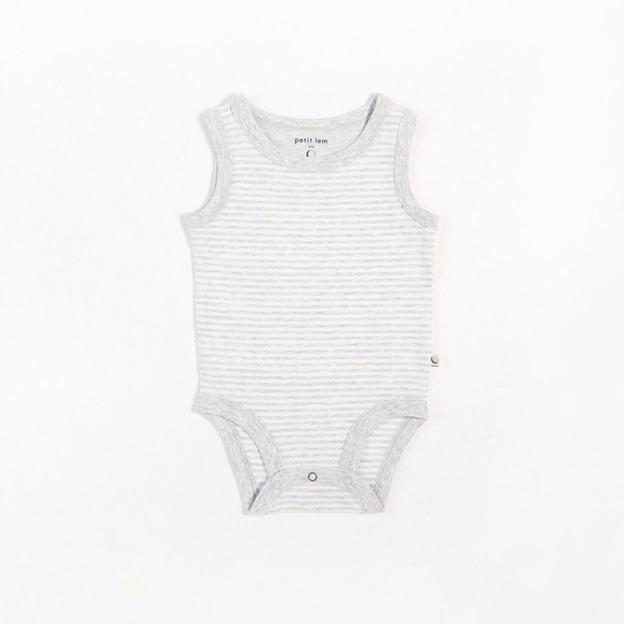 "Petit Lem - ""Essentials"" Grey Striped Tank Onesie with Organic Cotton Onesie Petit Lem"
