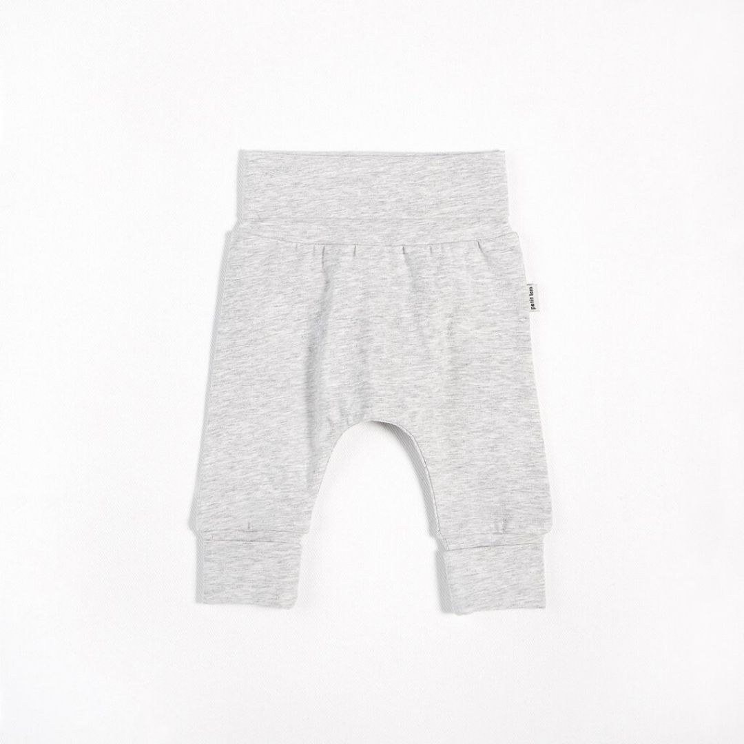 "Petit Lem - ""Essentials"" Heather Grey Grow With Me Pant with Organic Cotton Pants Petit Lem"