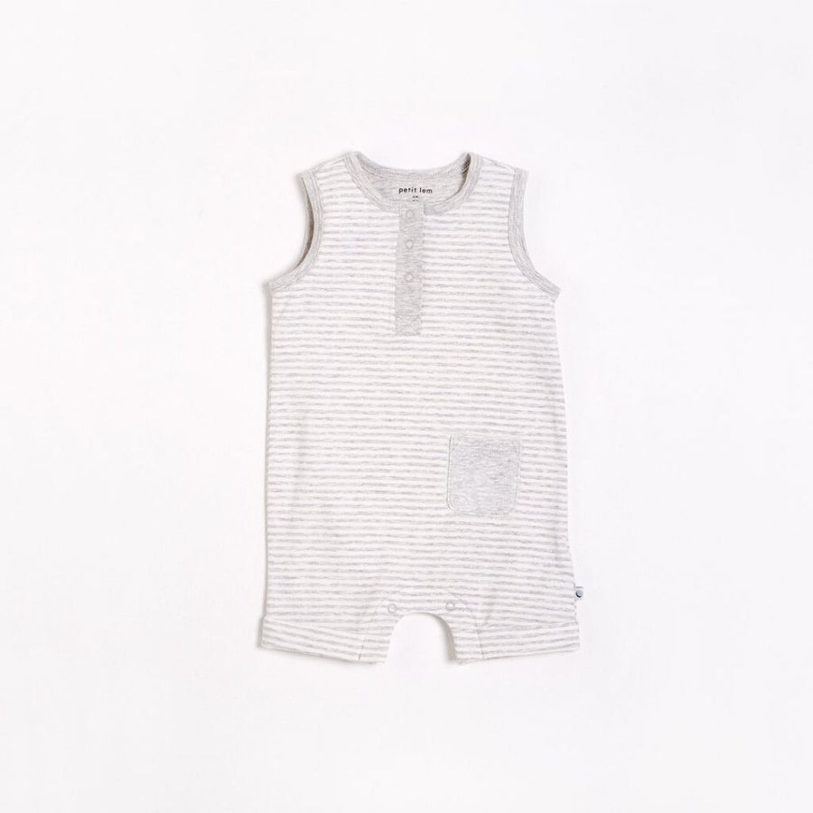 "Petit Lem - ""Essentials"" Heather Grey Romper with Organic Cotton Romper Petit Lem"