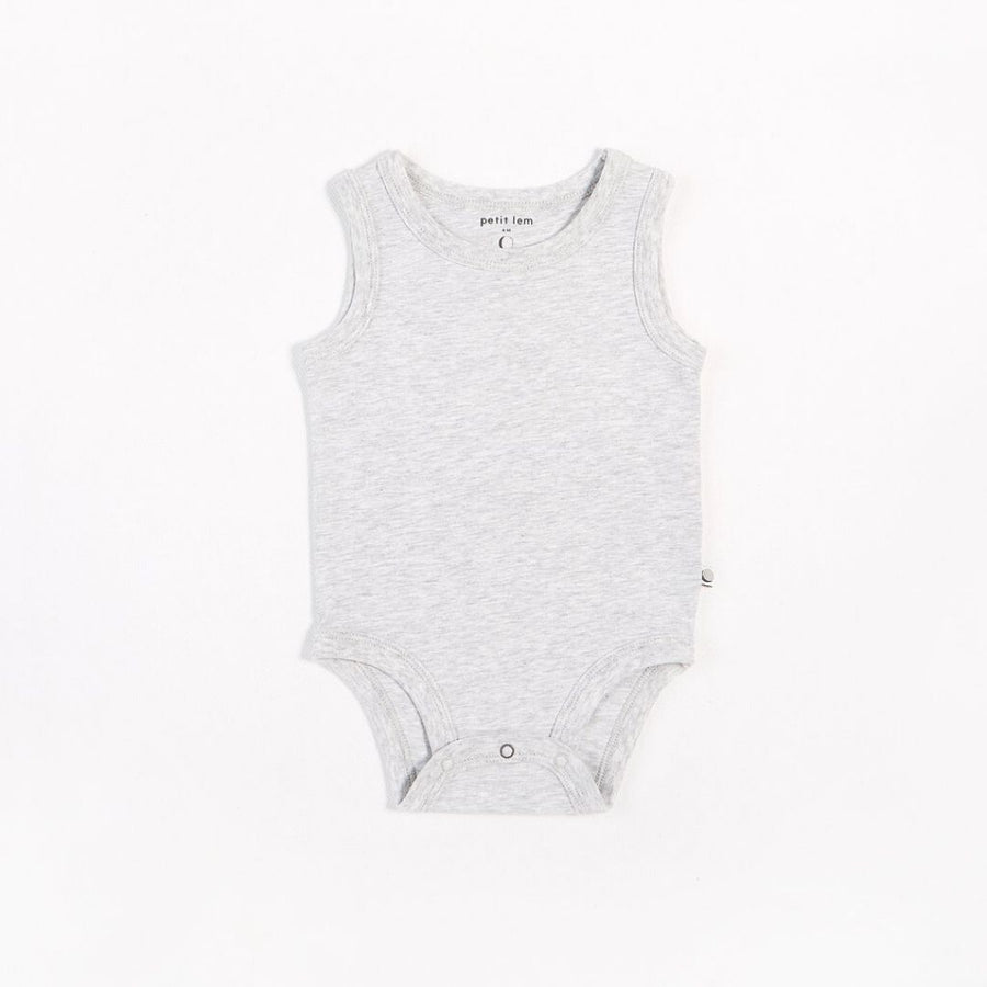 "Petit Lem - ""Essentials"" Heather Grey Tank Onesie with Organic Cotton Onesie Petit Lem"