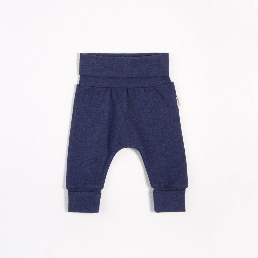 "Petit Lem - ""Essentials"" Heather Navy Grow With Me Pant with Organic Cotton Pants Petit Lem"