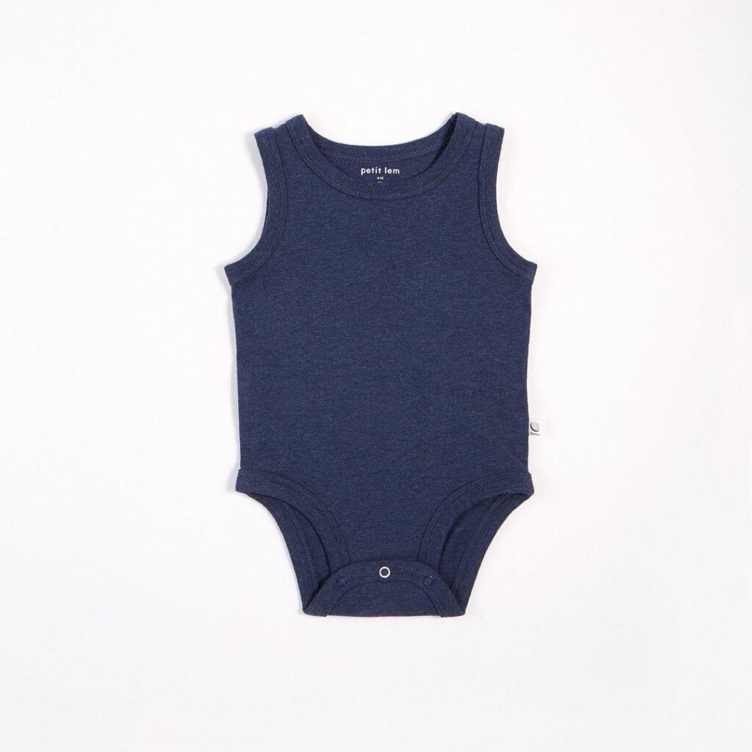 "Petit Lem - ""Essentials"" Heather Navy Tank Onesie with Organic Cotton Onesie Petit Lem"