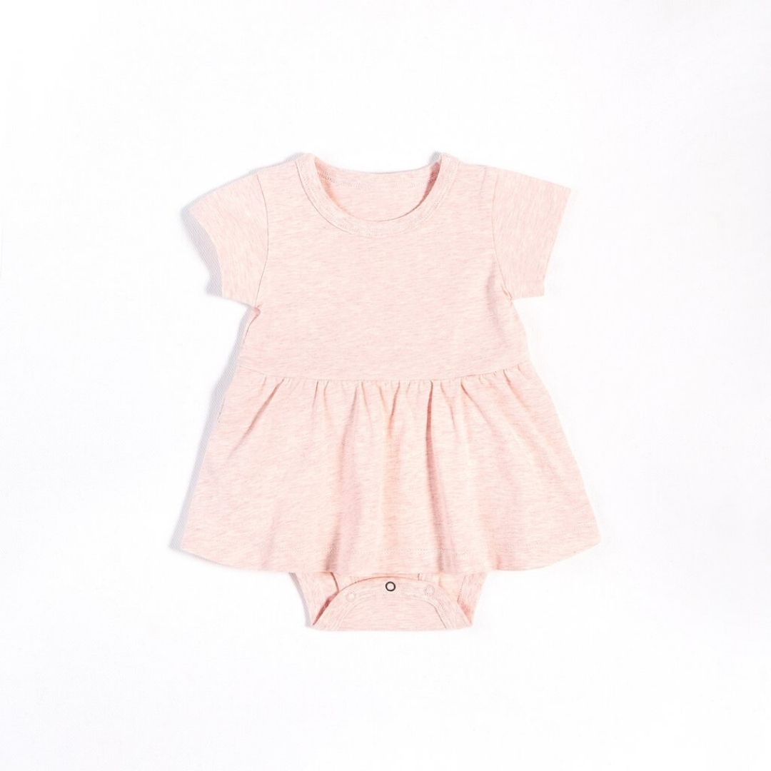 "Petit Lem - ""Essentials"" Heather Pink Peplum Onesie with Organic Cotton Onesie Petit Lem"