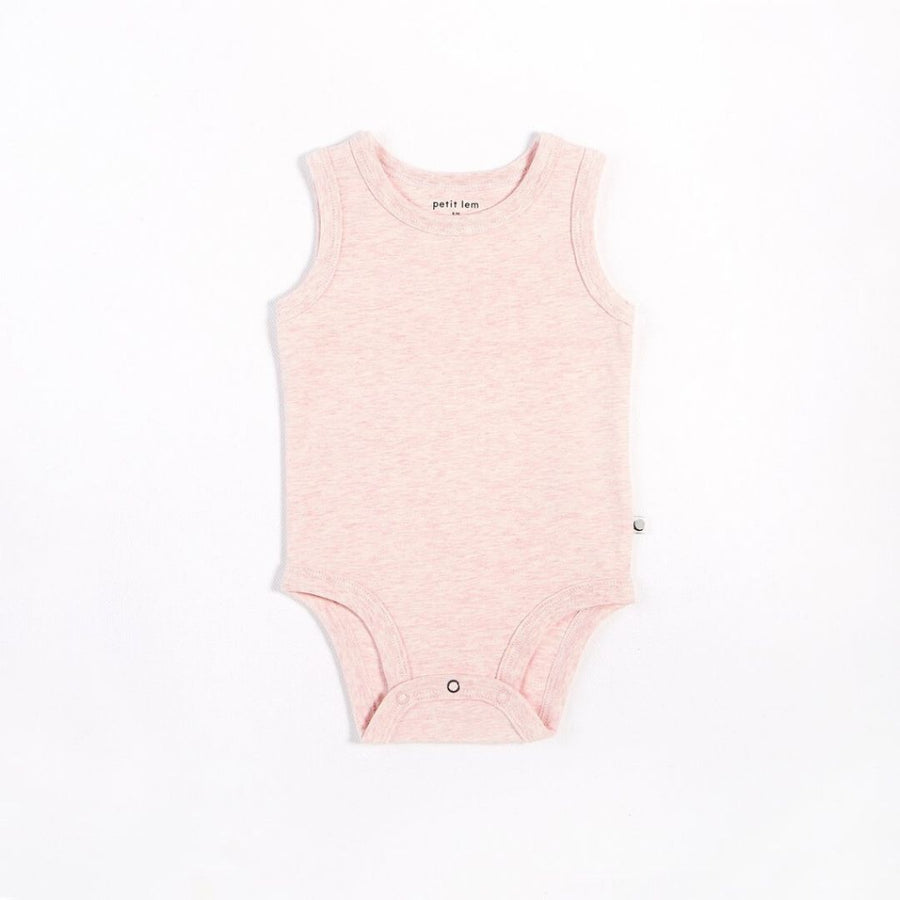 "Petit Lem - ""Essentials"" Heather Pink Tank Onesie with Organic Cotton Onesie Petit Lem"