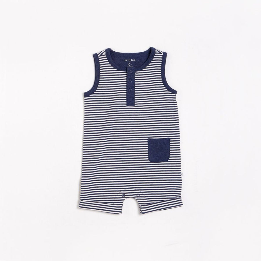 "Petit Lem - ""Essentials"" Navy Romper with Organic Cotton Romper Petit Lem"