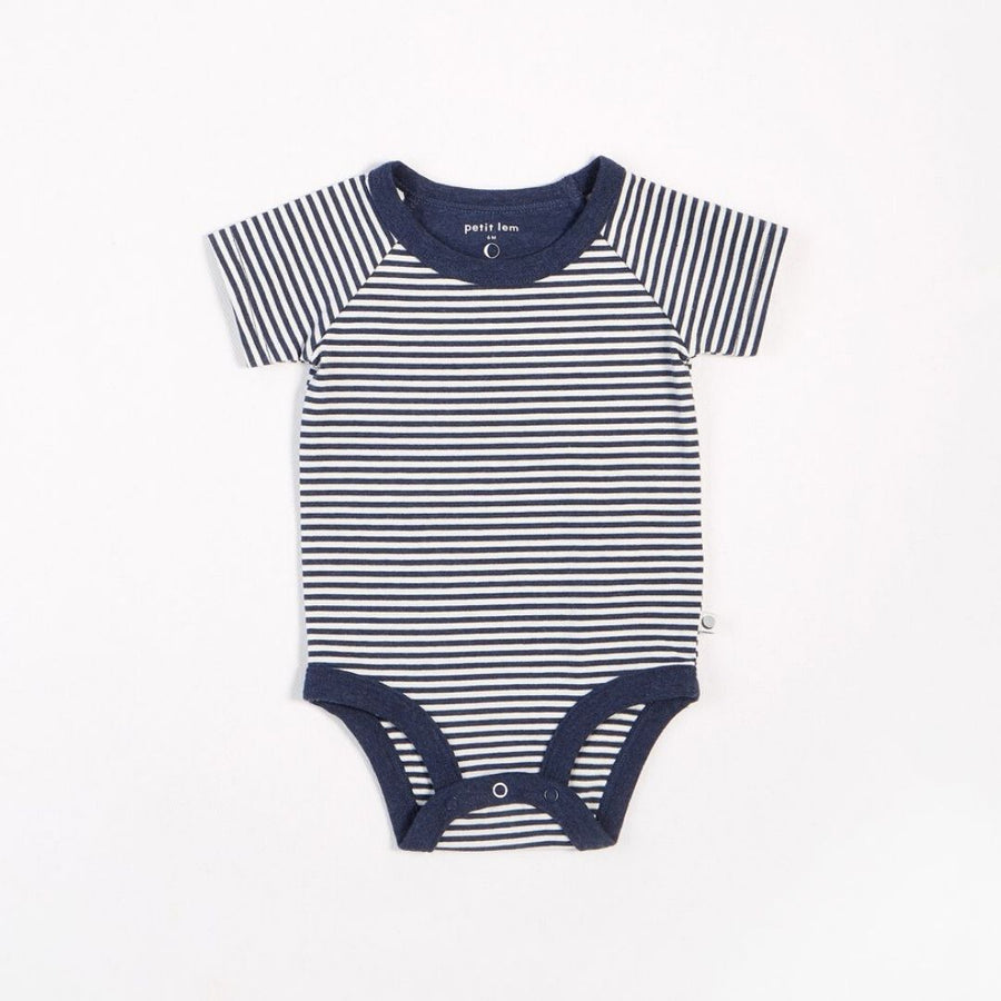 "Petit Lem - ""Essentials"" Navy Striped Onesie with Organic Cotton Onesie Petit Lem"