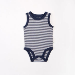 "Petit Lem - ""Essentials"" Navy Striped Tank Onesie with Organic Cotton Onesie Petit Lem"