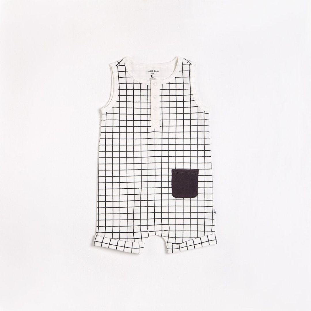 "Petit Lem - ""Essentials"" Off White Window Pane Romper with Organic Cotton Romper Petit Lem"