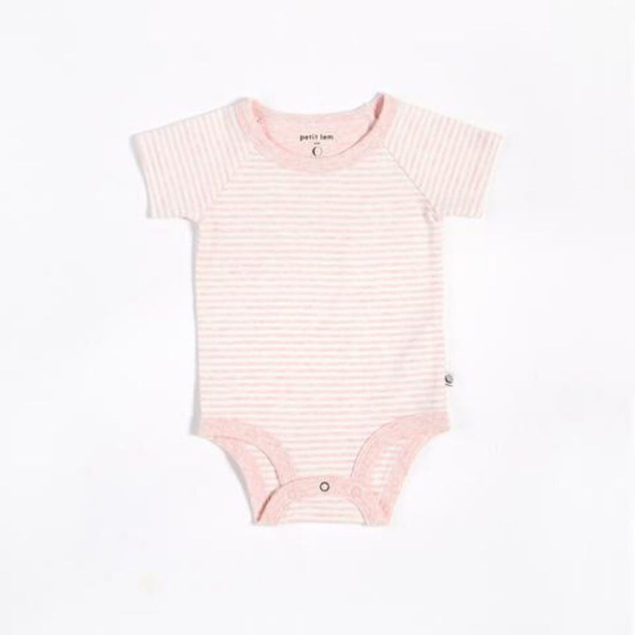 "Petit Lem - ""Essentials"" Pink Striped Onesie with Organic Cotton Onesie Petit Lem"