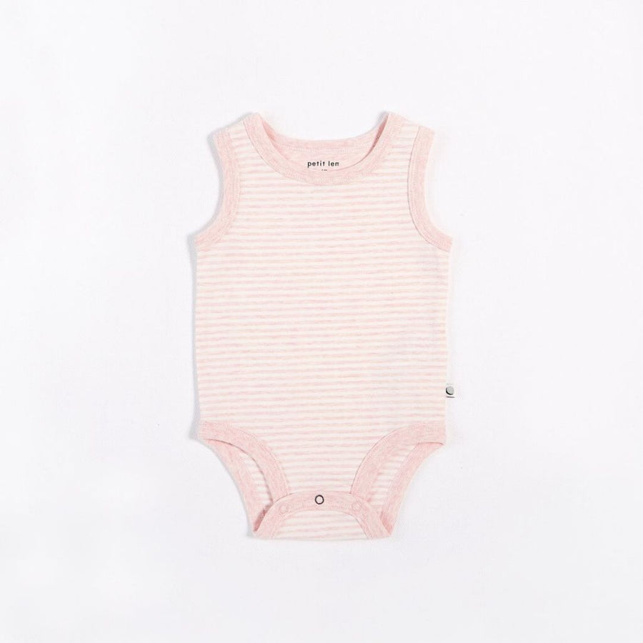 "Petit Lem - ""Essentials"" Pink Striped Tank Onesie with Organic Cotton Onesie Petit Lem"