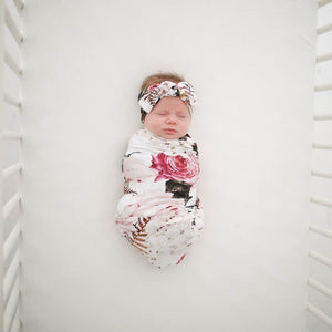 Posh Peanut - Black Rose Infant Swaddle and Headband Set Swaddle Posh Peanut