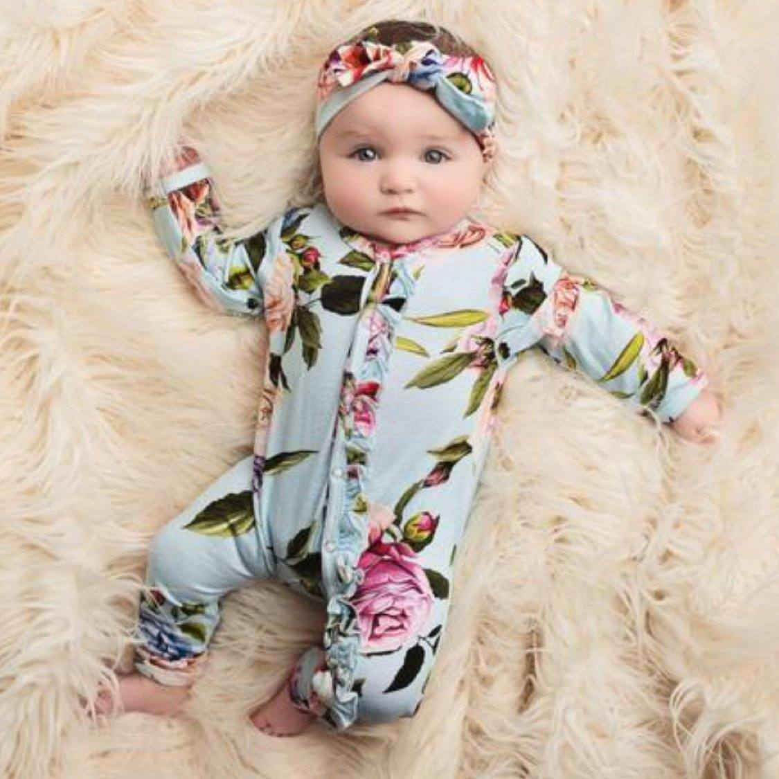 Posh Peanut - Country Rose Baby Girls One Piece Romper Romper Posh Peanut