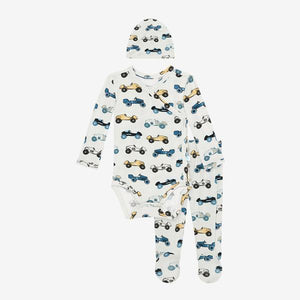 Posh Peanut - Enzo Baby Boys Kimono Set / Footie Pants / Beanie Set Pants Posh Peanut
