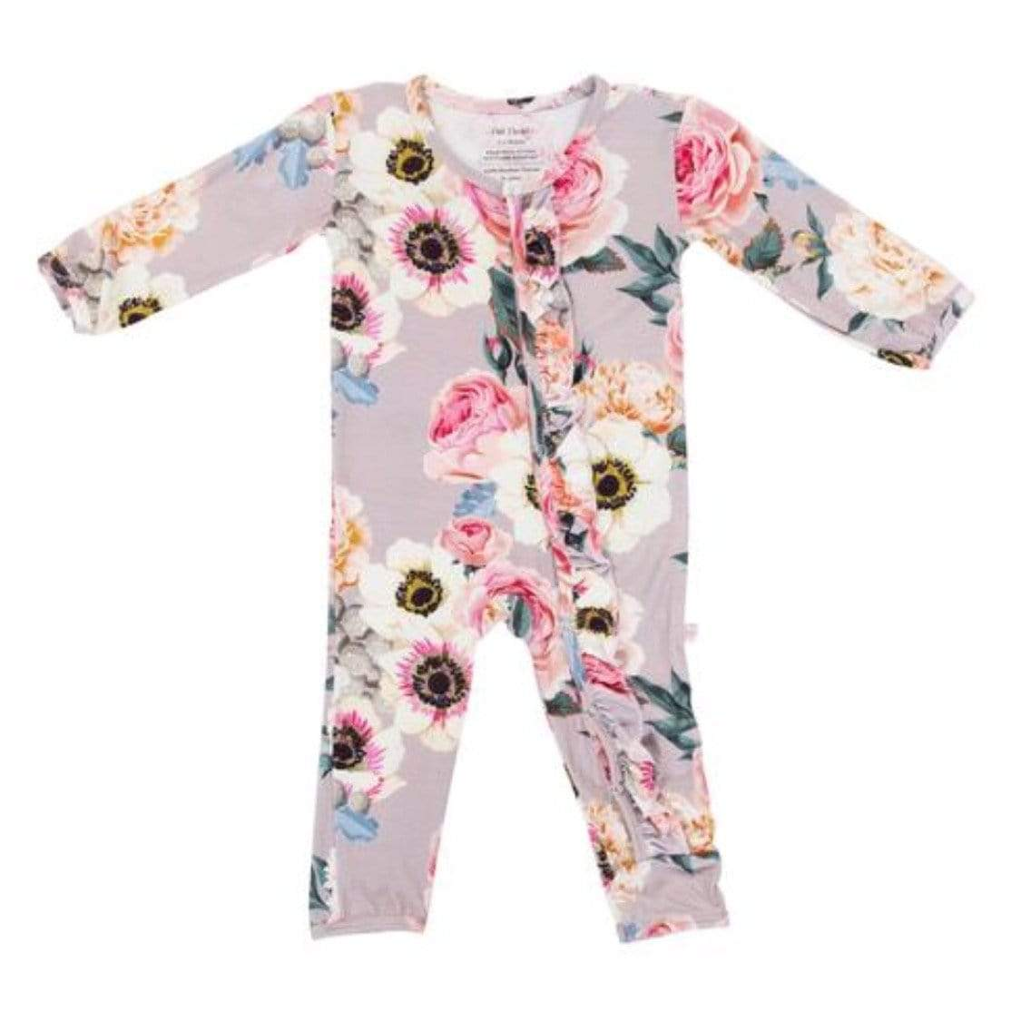 Posh Peanut - French Gray Baby Girls One Piece Romper Romper Posh Peanut