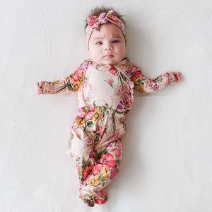Posh Peanut - June Baby Girl Ruffled Kimono Set / Footie Pants / Headband Set Pants Posh Peanut
