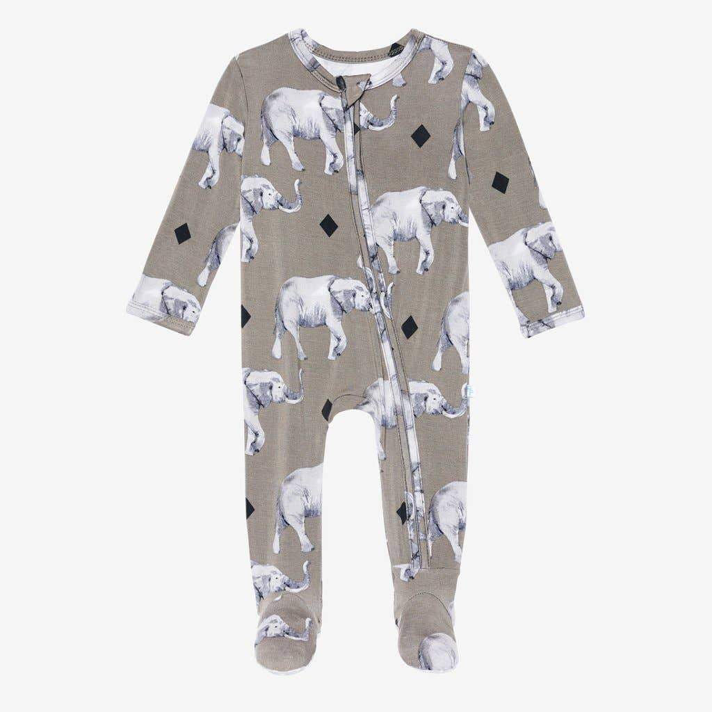 Posh Peanut - Rocco Elephant Footie Zippered One Piece Sleeper Posh Peanut