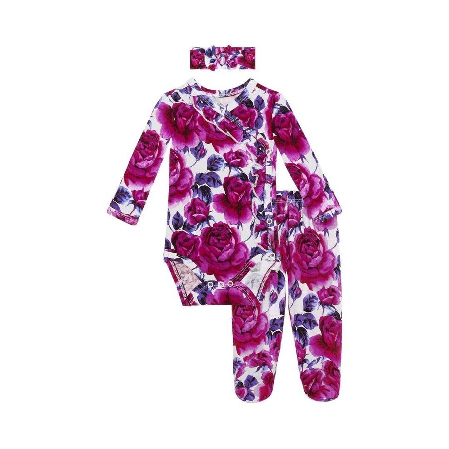 Posh Peanut - Violet Floral Ruffled Kimono Set Swaddle & Headband Set Posh Peanut